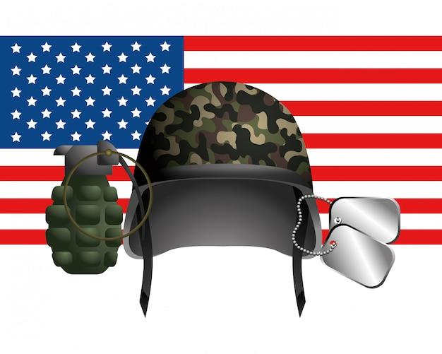 Flagge der vereinigten staaten mit militärhelm