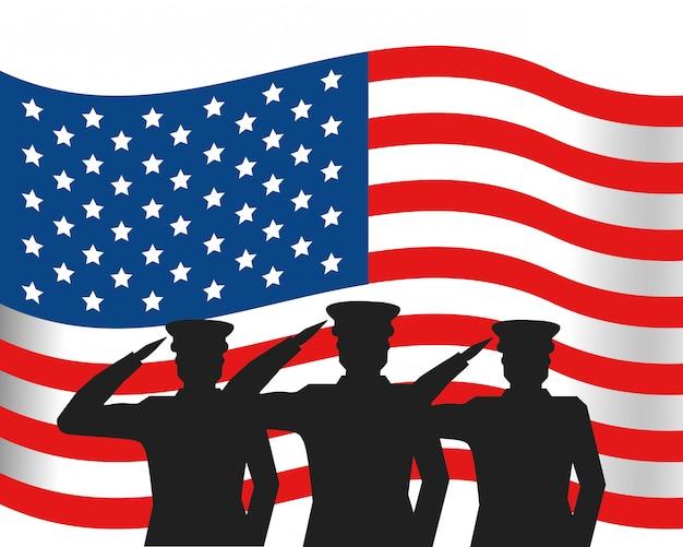 Flagge der vereinigten staaten mit militäroffizier silhouette