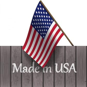 Flagge der vereinigten staaten und die wörter made in usa auf einem holzbrett