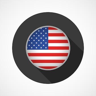 Flagge der vereinigten staaten von amerika auf knopf lokalisiert auf weiß