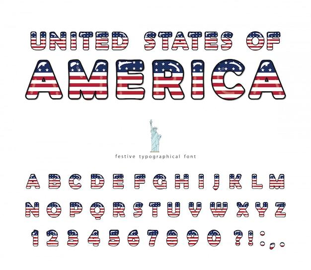Flagge der vereinigten staaten von amerika färbt schriftart.