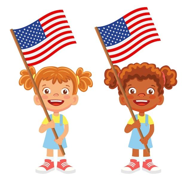 Flagge der vereinigten staaten von amerika in der hand. kinder halten flagge. nationalflagge des vektors der vereinigten staaten von amerika