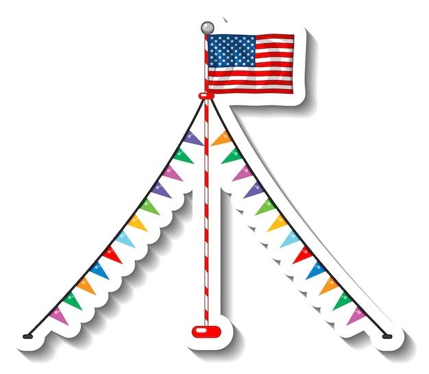 Flagge der vereinigten staaten von amerika mit isoliertem pol