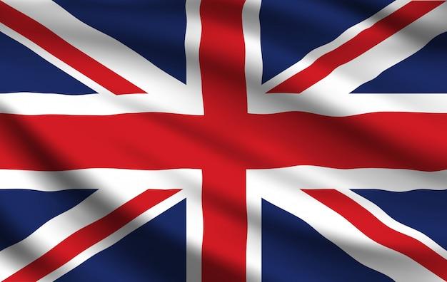 Flagge des vereinigten königreichs, realistisch winkendes union jack
