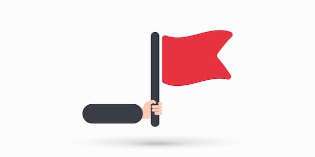 Flagge in der hand-symbol-vektor-illustration