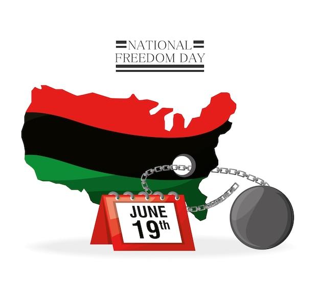 Flagge, kalender und kette, um freiheit zu feiern