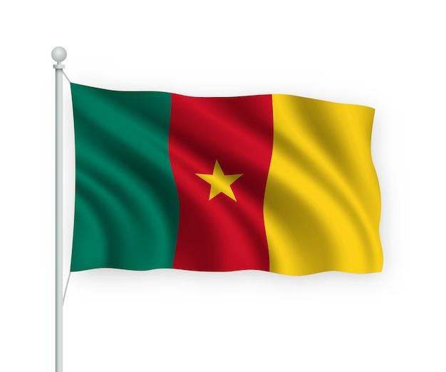 Flagge kamerun auf fahnenmast isoliert auf weiß
