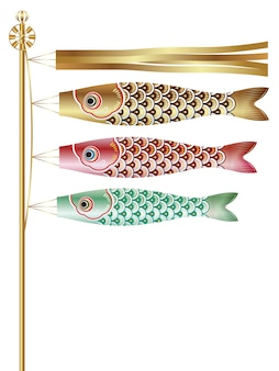 Flagge mit karpfen luftschlangen für das japanese boys festival