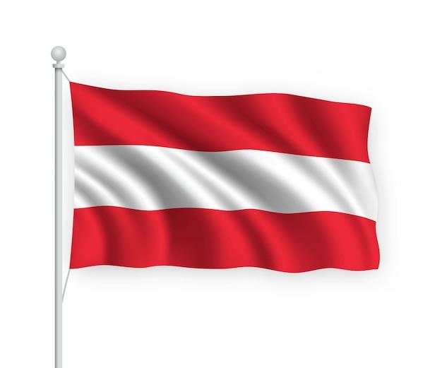 Flagge österreich am fahnenmast auf weiß isoliert