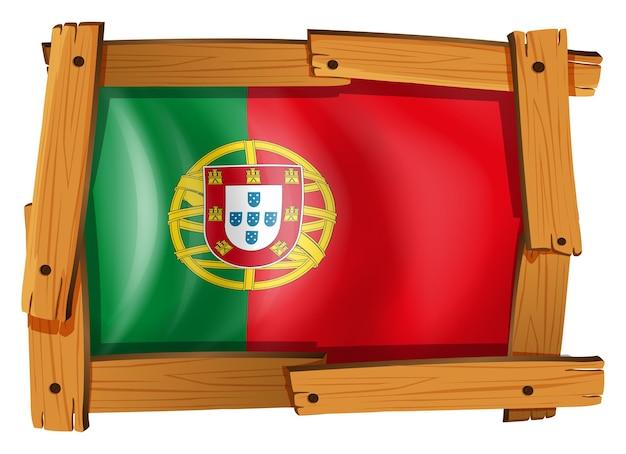 Flagge portugals auf holzrahmen