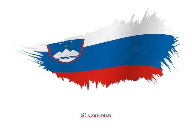 Flagge sloweniens im grunge-stil mit welleneffekt, vektor-grunge-pinselstrich-flagge.