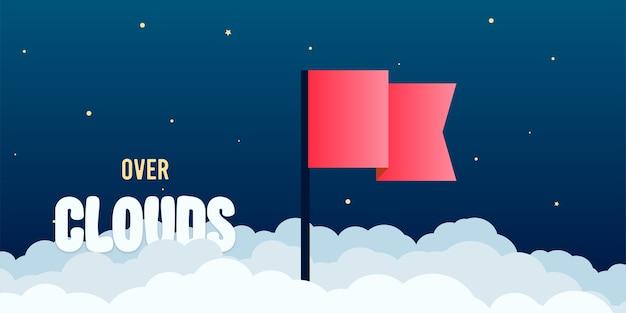 Flagge über wolken auf flachem stil