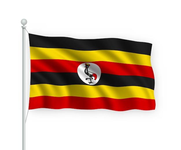 Flagge uganda am fahnenmast auf weiß isoliert