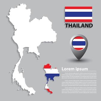 Flagge und karte von thailand