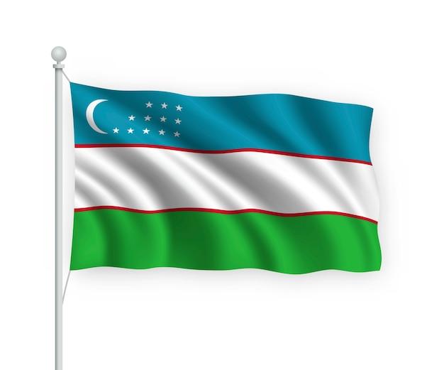 Flagge usbekistan am fahnenmast auf weiß isoliert