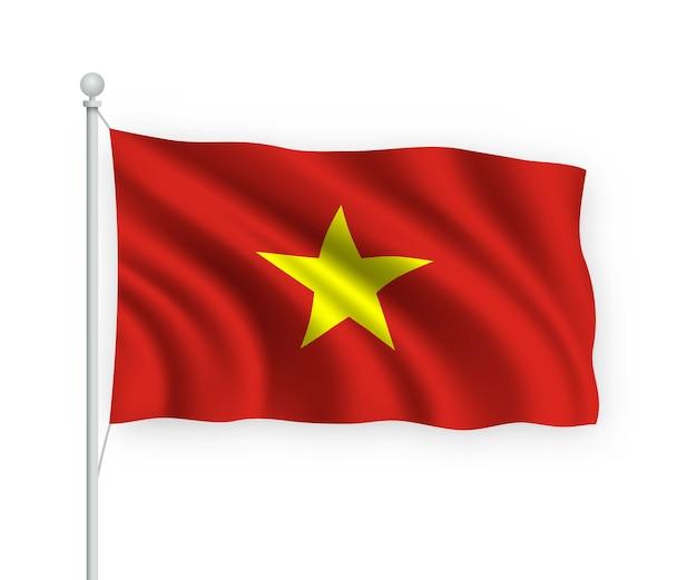 Flagge vietnam am fahnenmast auf weiß isoliert