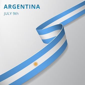 Flagge von argentinien. 9. juli. sol de mayo. vektor-illustration. wellenförmiges band auf grauem hintergrund. tag der unabhängigkeit. nationales symbol.