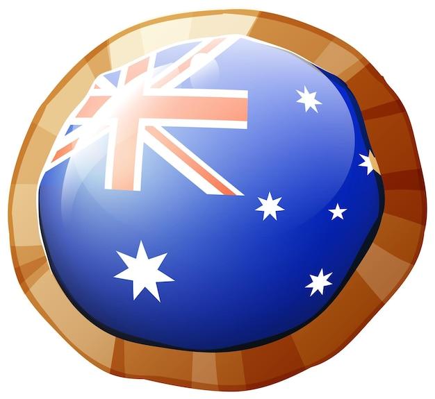 Flagge von australien auf rundem abzeichen