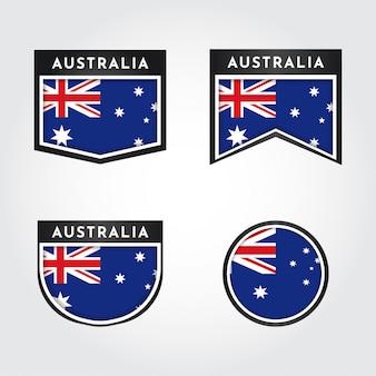 Flagge von australien mit etikettenillustrationsschablonendesign