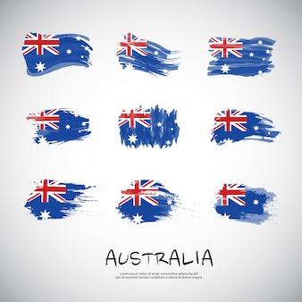 Flagge von australien mit pinselstrich.