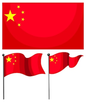 Flagge von china in verschiedenen formen isoliert