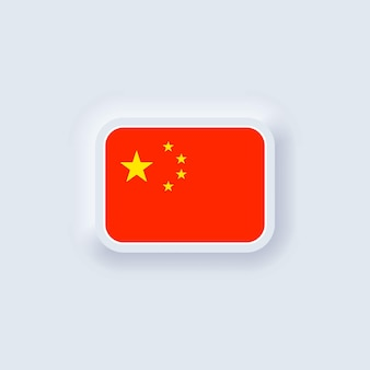 Flagge von china. nationale chinesische flagge. china-symbol. neumorphe ui ux