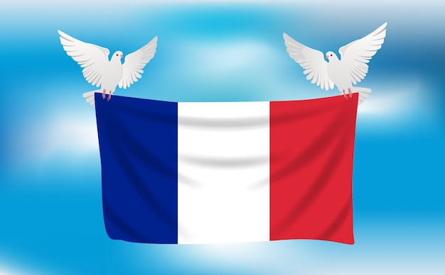 Flagge von frankreich mit weiße tauben