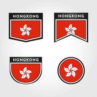 Flagge von hongkong mit etiketten