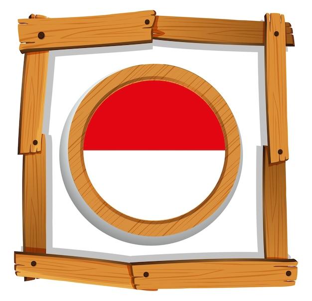 Flagge von indonesien auf rundem rahmen