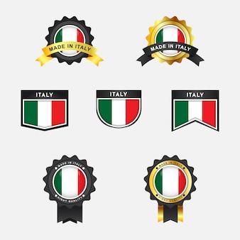 Flagge von italien mit emblem abzeichen design