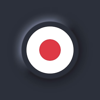 Flagge von japan. nationale japanische flagge. japanisches symbol. neumorphe ui ux