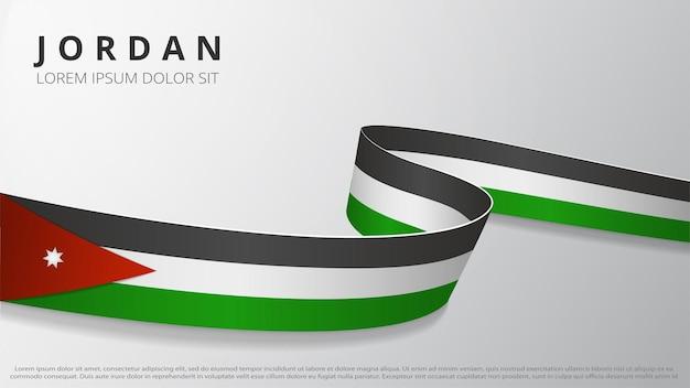 Flagge von jordanien. realistisches gewelltes band mit jordanischen flaggenfarben. grafik- und webdesign-vorlage. nationales symbol. poster zum unabhängigkeitstag. abstrakter hintergrund. vektor-illustration.