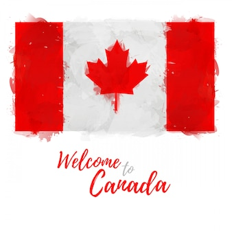 Flagge von kanada mit der verzierung des nationalen symbolahornblattes und der farbe. stil aquarell zeichnung kanadische flagge.