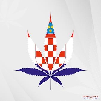 Flagge von kroatien in marihuana-blattform. das konzept der legalisierung von cannabis in kroatien.