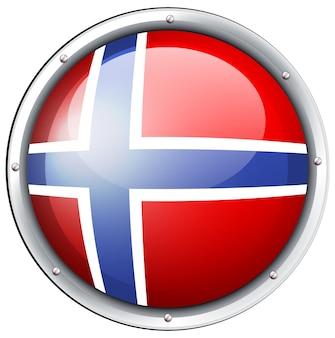 Flagge von norwegen auf rundem abzeichen