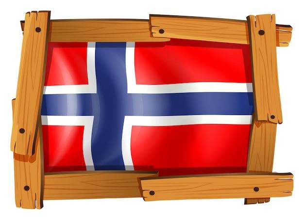 Flagge von norwegen im holzrahmen