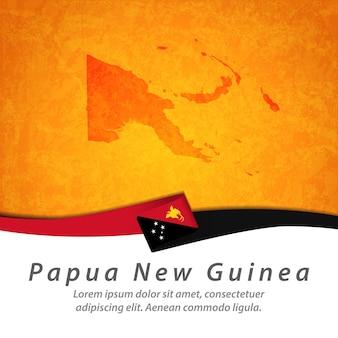 Flagge von papua-neuguinea mit zentraler karte