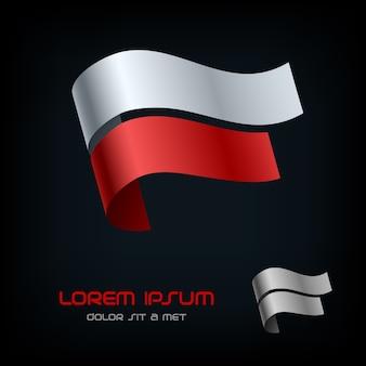 Flagge von polen, band-logo.