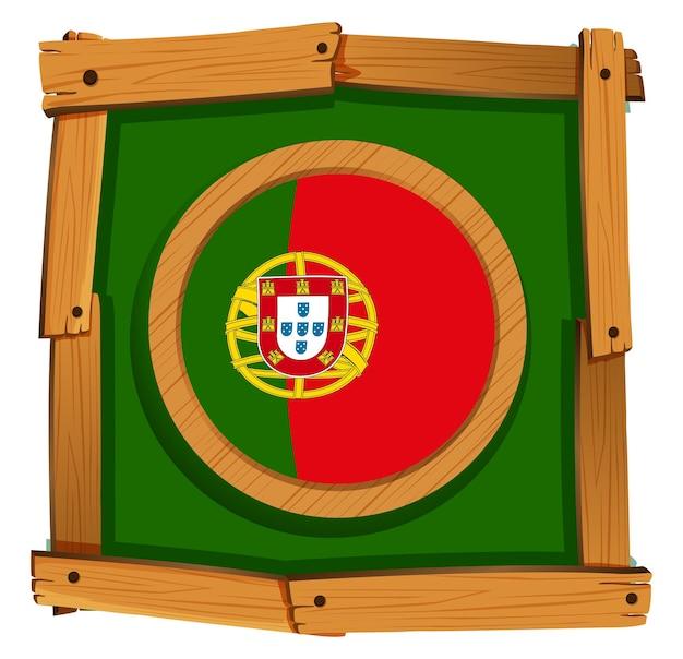 Flagge von portugal im holzrahmen