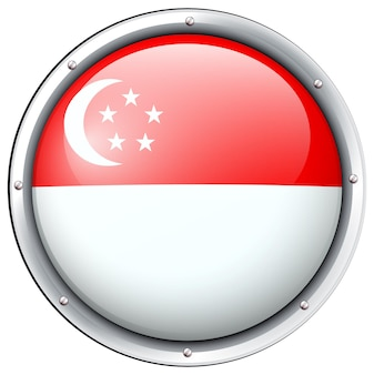 Flagge von singapur im runden rahmen