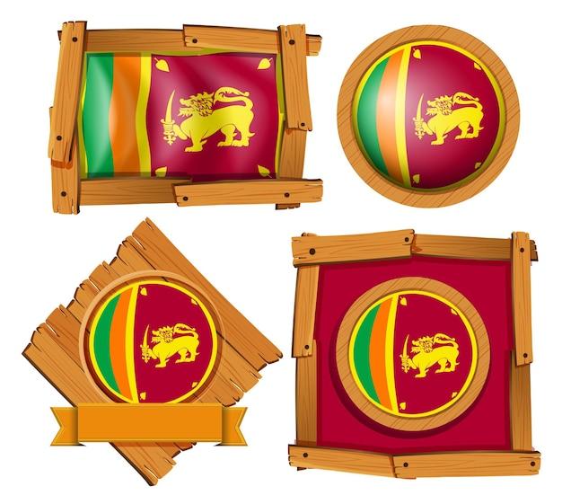 Flagge von sri lanka in verschiedenen rahmen