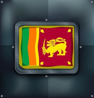 Flagge von srilanka auf metallischem hintergrund