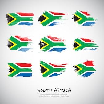 Flagge von südafrika mit pinselstrich.