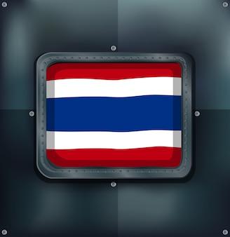 Flagge von thailand auf metallischem hintergrund