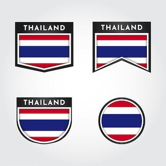 Flagge von thailand mit etiketten
