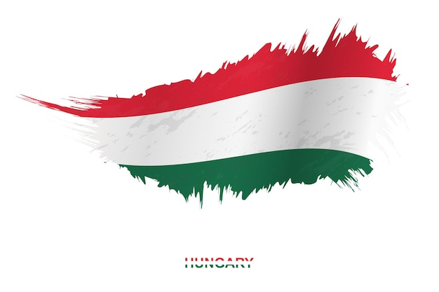 Flagge von ungarn im grunge-stil mit welleneffekt, vektor-grunge-pinselstrich-flagge.