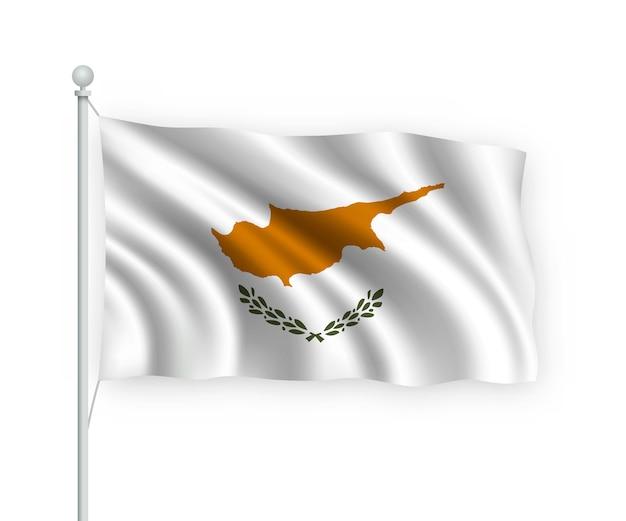 Flagge zypern am fahnenmast auf weiß isoliert