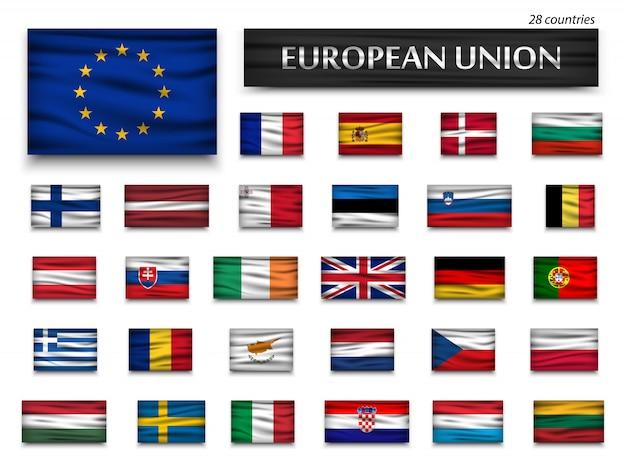 Flaggen der europäischen union und mitglieder