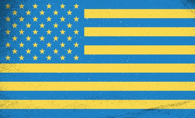 Flaggen der länder. ukraine und usa zusammen.