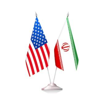 Flaggen der usa und des iran isoliert auf weißem hintergrund. vektor-illustration